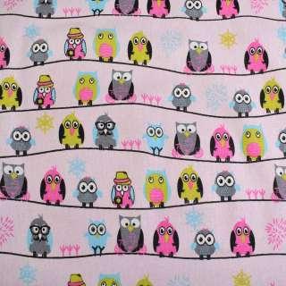 Деко-лен розовый в совы на полосах ш.145