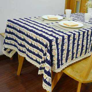 Деко-лен синий темный в полосы бело-бордовых домиков ш.150