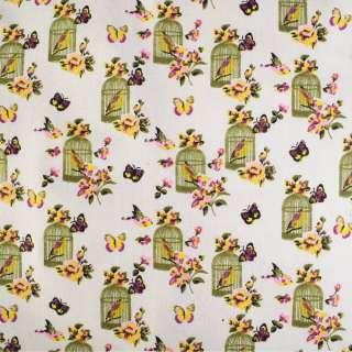 Деко-лен молочный в бабочки, цветы, клетки с птичками ш.150