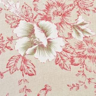 Деко-лен бежевый в малиново-белые цветы, ш.150