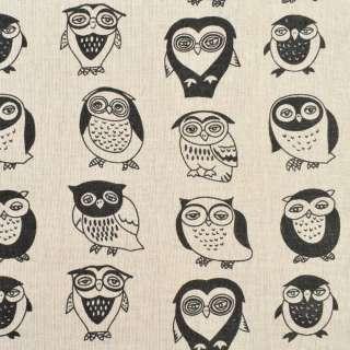 Деко-лен бежевый в черные совы, ш.150