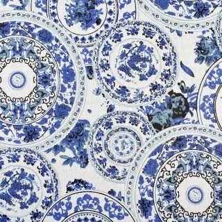Деко-лен молочный в круги с синими узорами, ш.150