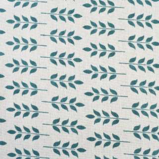 Деко-лен молочный в сине-зеленые листья, ш.150