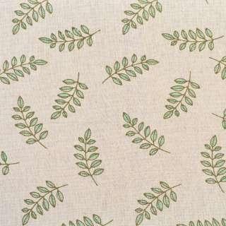 Деко-лен бежевый в оливковые ветки, ш.155