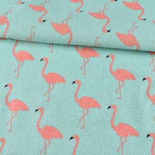 Деко-лен бирюзовый светлый, фламинго, ш.152