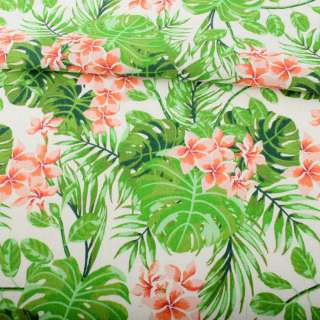 Деко-лен белый, зеленые тропические листья, оранжевые цветы ш.152