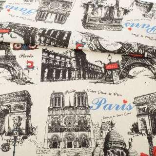 Деко-лен песочный, черные графические рисунки, Париж, раппорт 32см, ш.152
