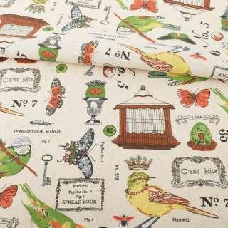 Деко-лен бежевый, птичьи клетки, бабочки, разноцветные птички, ш.152