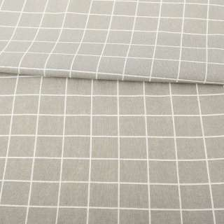Деко-лен серый в белую клетку ш.152