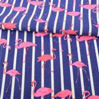 Деко-лен фиолетовый в белую полоску, розовые фламинго ш.150