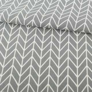 Деко-лен серый в белый геометрический рисунок елочка ш.154