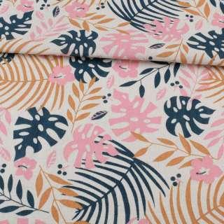 Деко-лен белый, синие, бежевые, розовые листья, ш.155