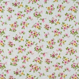 Деко-лен молочный в мелкие розовые, желтые цветы ш.155