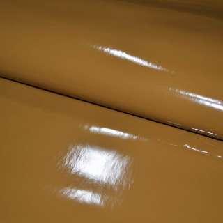 Кожа искусственная лаке на флисе коричневая светлая ш.140