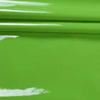 кожа искусст. лак. зеленая на флисе ш.140