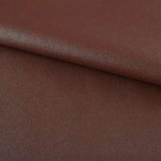 Кожа искусственная на флисе коричнево-красная ш.140