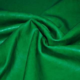 Кожа искусственная зеленая на флисе ш.140