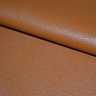 Кожа искусственная универсальная на флисе коричнево-рыжая ш.140
