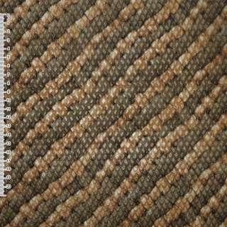 Кожа искусственная жатая коричневая в диагональные рыжие полосы ш.140