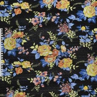 Кожа искусственная жатая черная в желтые цветы ш.140
