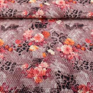Кожа искусственная жатая розово-коричневая в бордовые цветы ш.140