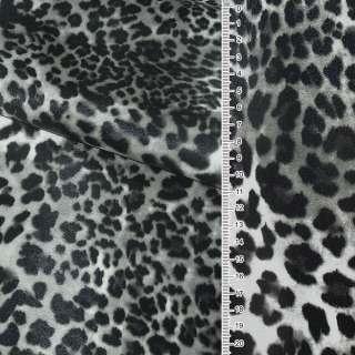 """Кожа искусственная на флисе молочно-серый """"леопард"""" ш.140"""