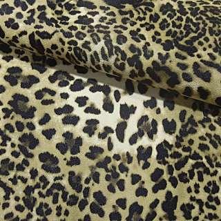 "кожа искуст. на флисе св/коричневый ""леопард"" ш.140"