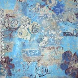 Кожа искусственная голубая с цветочным рисунком