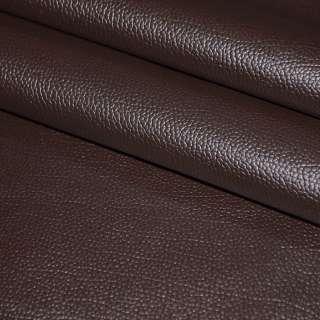 """Кожа искусственная темно-коричневая с красным оттенком на флисе """"пузырьки"""" ш.140"""