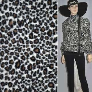 Мех искусственный средневорсовый белый под черного леопарда ш.150
