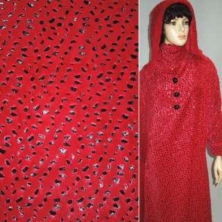 Мех искусственный коротковорсовый красный со штампом черные капли ш.160