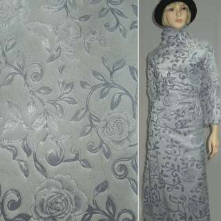 Мех искусственный серо-голубой со штампованными розами ш.150