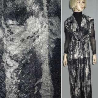 Мех искусственный коротковорсовый серый с абстрактным рисунком