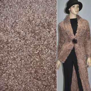 """Мех искусственный коричневый с розовым оттенком под """"барашка"""" ш.160"""