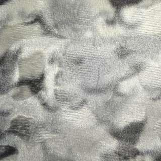 Мех искусственный коротковорсовый светло-серый с белым рисунком