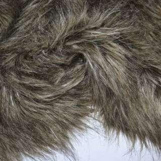 Мех искусственный длинноворсовый бежево-коричневый с черным ш.155