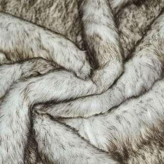 Мех искусственный средневорсовый белый с коричневым ворсом ш.170