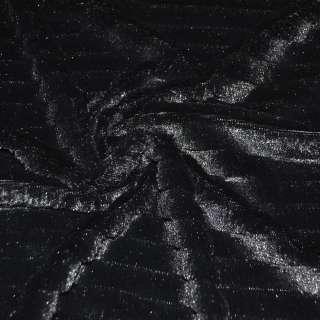 Мех искусственный черный со стриженой полосой ш.150