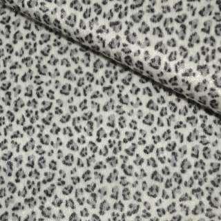 Мех искусственный коротковорсовый белый с черным леопардом ш.150
