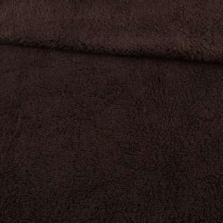 Мех искусственный овчина тонкий коричневый темный ш.175