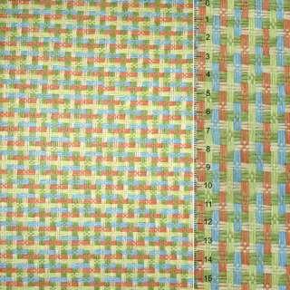 Рогожка из целлюлозы на флизелине с цветным переплетением: зелено-оранжево-голубая, ш.150