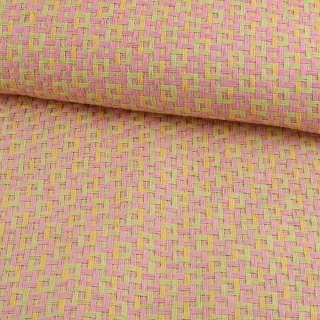 Рогожка из целлюлозы на флизелине с цветным переплетением: розово-салатовая, ш.150