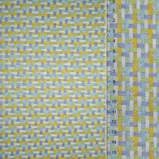 Рогожка из целлюлозы на флизелине с цветным переплетением: салатово-желто- бело-серая, ш.150
