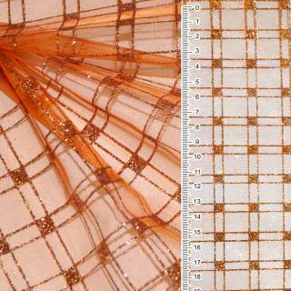 Органза оранжевая с блестящими квадратами ш.160