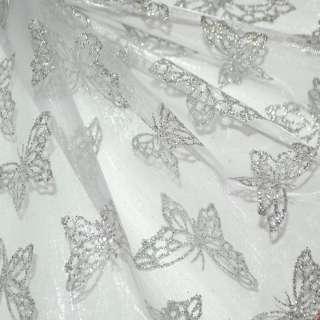 Органза молочная с серебряными бабочками ш.150