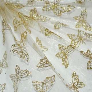 Органза молочная с золотыми бабочками ш.150