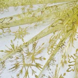Органза золотисто-желтая с блестками снежинка ш.160