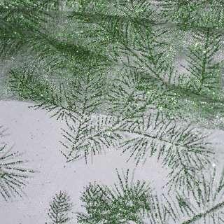 Органза белая с зелеными блестками веточки ш.150