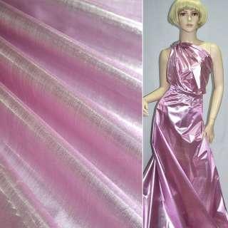 Парча розово-серебристая гладкая ш.150