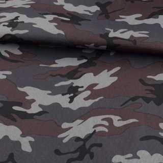 ПВХ ткань оксфорд 600D камуфляж серо-черный ш.150